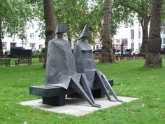 Sculpture Sitting Couple by Lynn Chadwick, Berkeley Square, London W1/UK