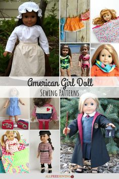 Learn how to make American Girl doll clothes with these resources. These easy 18 inch doll clothes patterns are perfect for any AG doll! Sewing Doll Clothes, Girl Doll Clothes, Girl Dolls, Sewing Dolls, Baby Dolls, Doll Dress Patterns, Sewing Patterns For Kids, Sewing Ideas, Crochet Doll Pattern