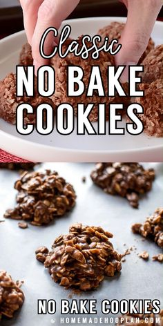 This recipe is a tried and true classic! Quick-cooking oats are mixed with a melted chocolate peanut butter sauce to make these simple and tasty cookies. Chocolate Chip Cookies, Chocolate Oats, Melted Chocolate, Chocolate Recipes, Chocolate Chips, Healthy No Bake Cookies, Tasty Cookies, Unbaked Cookies Recipe, No Bake Cookie Recipe