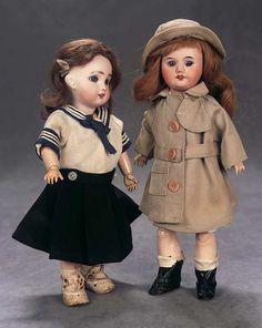 SFBJ (Société Française de Fabrication de Bébés et Jouets) —  Two  11'' Bisque Bebe  'Bleuette'  in Mariner Costume, c.1920  &  Bleuette by SFBJ in Original Bleuette Costume, c.1922  (676x850)
