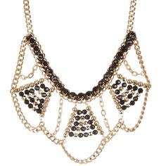 Steve Madden Geometric Beaded & Stone Chain Bib Necklace ($18) ❤ liked on Polyvore featuring jewelry, necklaces, no color, black stone necklace, bead necklace, black stone jewelry, beaded jewelry and black necklace