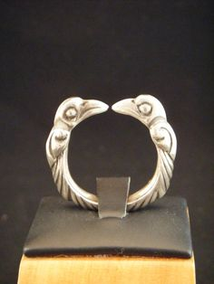 Viking Style Odins Raven Torc Ring Hand by Celtic Viking Jewelry.