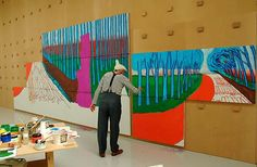 Art Star Smackdown: David Hockney Hammers Damien Hirst - The L Magazine David Hockney Landscapes, David Hockney Art, David Hockney Paintings, Arte Pop, Damien Hirst, Henri Matisse, Artist Art, Artist At Work, Banksy