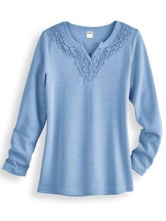 Flat Back Rib Top - Henley styling romanced with crocheted lace, appliquéd around the front neckline and placket. Dyed-to-match pearlized buttons. Approx. 28