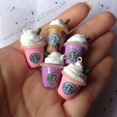 Handmade mini clay Starbucks charm 1 piece by JemDeco on Etsy, $3.49