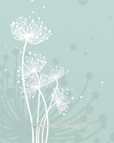 Choose Your Color, Blue Green Blowing Dandelion Art Print 8 x 10, Nature Silhouette Home Decor, Turqouise, Customized Wall Art (176)