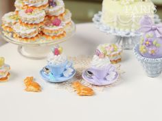 Cup of Easter Cappuccino with Bunny Cookie (Choice of Baby Blue or Lilac) - Miniature Food in 12th Scale for Dollhouse