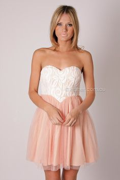 bridesmaid or maid of honor Casual Dresses, Peach Dresses, Formal Dresses, What A Girl Wants, Maid Of Honor, Lace Detail, Tutu, Strapless Dress Formal, Bridesmaid