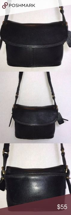 "COACH 9801 Black Glove Leather Shoulder Saddle Bag TITLE COACH 9801 Black Glove Leather Shoulder Saddle Bag Handbag Classic Vintage BRAND COACH 9801 COLOR Black MATERIAL Leather STYLE Shoulder Bag, Handbag SIZE 7.5"" length, 6"" height, 2.5"" width, 21"" strap drop FEATURES  Outside open pocket, zip pocket.  Inside 1 main compartment, 1 zip pocket. CONDITION pre-owned. Smoke Free. Outside and inside are in worn used condition. (see pics) THIS IS A VINTAGE BAG, PLEASE DO NOT EXPECT NEW CONDITION…"