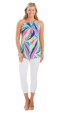 How stunning are the saturated colors on this fun sleeveless top?