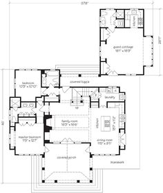 Cape Side Cottage I would have the attached guest cottage as a garage and put the guest cottage on rear of property. Also turn the stairs to floor to the exterior and gain more interior space. House Plans Mansion, Garage House Plans, Ranch House Plans, Craftsman House Plans, Best House Plans, Modern House Plans, Small House Plans, Cottage Floor Plans, Cottage House Plans