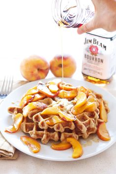 Whole Wheat Waffles  with BourbonPeaches | 100% whole wheat waffles topped with the most amazing bourbon peaches!