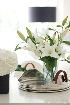 stunning tray with leather handles and white lilies........
