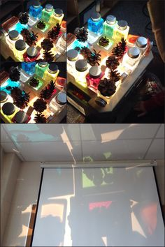 Via @chapmanKs loose parts play on the overhead projector with DIY window blocks.