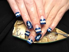 Nautical sailor acrylic  nails