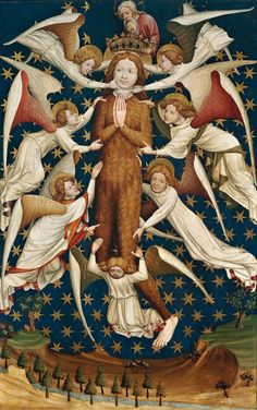 Mary Magdalene Raised by Angels. Anonymous (Gdańsk), circa 1430 National Museum in Warsaw. Right wing of the Winterfelds' Diptych. And DAMN she is heavy!