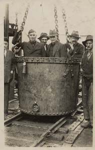 Cefn Coed Colliery, 1926 - this is how the men were taken down the mine shaft to work.