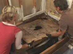 Replacing the subfloor in a bathroom.