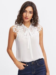 SHEIN Guipure Lace Applique Tied Neck Top Women Tops and Blouses 2017 White Band Collar Sleeveless Sexy Blouse-noashe Blouse Sexy, Tie Blouse, Sleeveless Blouse, Sexy Bluse, Trendy Outfits, Fashion Outfits, Fashion Boots, Women Bow Tie, Plain Tops