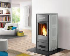 Piazzetta's P963 THERMO: This stove with superlative majolica cladding can heat a medium sized environment.  www.calore.co.za