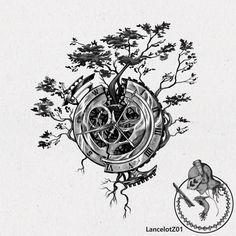 Clock and compass by LancelotZ02