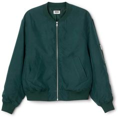 Monoc Bomber ❤ liked on Polyvore featuring outerwear, jackets, zipper jacket, zip jacket, blue zipper jacket, blue bomber jacket and bomber jacket