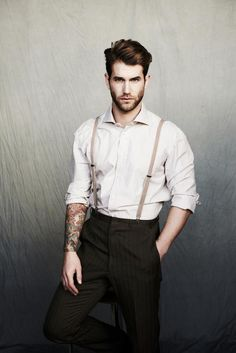 I like these skinny suspenders. And rolled up sleeves? Yes please.