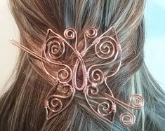 Butterfly Copper Hair Barrette, Handmade Accessory Decoration