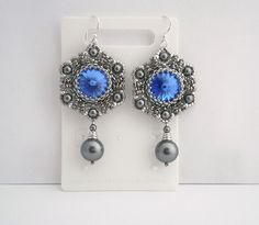 Sapphire Crystal and Pearls Earrings. Lovely grey and blue combination.