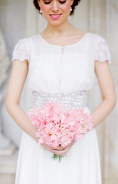 Pink Sweet Pea Bouquet - Read more on One Fab Day: http://onefabday.com/one-flower-bridal-bouquets/?utm_source=Subscriber%20Email%20List