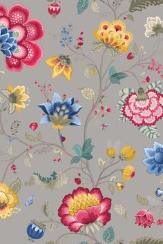 Floral Fantasy wallpaper light taupe