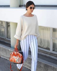 **** STITCH FIX May 2017 styles! Loving this gorgeous combination of off white and white stripe pant.  Such a classic clean style! Get styles just like these from Stitch Fix today. Just click the picture to get started!! Stitch Fix Spring Summer 2017. #Affiliate #StitchFix