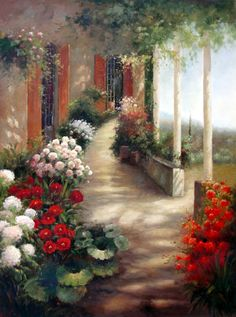 Veranda in Bloom - Original Oil Painting Artist: Unknown Size: 48 High x 36 Wide Canvas Hand-painted, original oil painting on unstretched canvas.