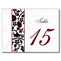 damask red  table numbers postcards