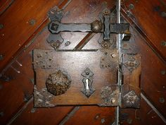 Ancient latch and lock on the medieval church of St Mary, Nackington ...