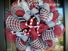 Deco Mesh Alabama Fan Wreath by lilmaddydesigns on Etsy, $85.00