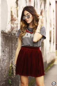 FashionCoolture - 15.07.2015 look du jour Velvet pleated skirt rocker outfit (3)