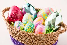 Create an Easter basket of colorful eggs using nail polish.