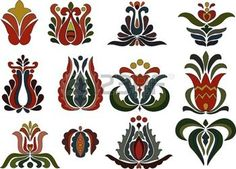 hungarian folk: Colorful flower motifs