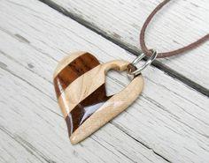 Wooden Heart Necklace - Maple & Walnut Hardwoods - Women's Jewelry