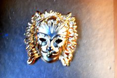 Retro vintage 80s gold tone metal face mask brooch. by VezaVe