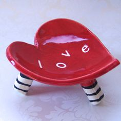 red LOVE ceramic heart dish with striped legs