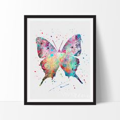 Butterfly Watercolor Art. This art illustration is a composition of digital watercolor images and silhouettes in a minimalist style.