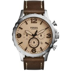 Fossil 'Nate IP' Chronograph Watch, 50mm ($125) ❤ liked on Polyvore featuring men's fashion, men's jewelry, men's watches, mens chronograph watches, fossil mens watches and mens military watches