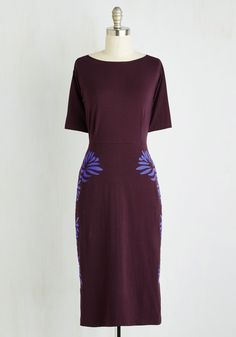 Leaf on a High Note Dress. After a smooth presentation, you wrap things up with poise and precision in this aubergine sheath dress by Synergy! #purple #modcloth