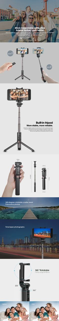 RIVERSONG S6 Mini Bluetooth 3.0 Wireless Remote Control Selfie Stick Tripod for iPhone 8 Plus X S8 Selfie Stick, Tripod, Iphone 8 Plus, Remote, Bluetooth, Building, Mini, Buildings, Construction