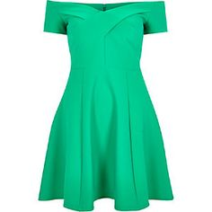 Green scuba bardot skater dress
