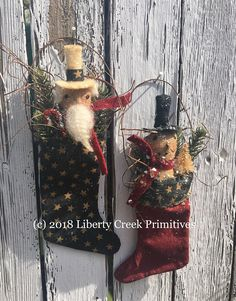 Primitive Ornies USA Stockings Americana Patriotic PATTERN by libertycreek on Etsy Primitive Snowmen, Primitive Christmas, Country Christmas, Christmas Snowman, Winter Christmas, Christmas Ornaments, Stocking Ornaments, Liberty, Holiday Crafts
