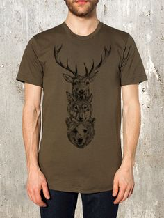Men's T-Shirt with Elk, Wolf, Bear Totem - Screen Printed American Apparel - Available in S, M, L, XL and XXL on Etsy, $25.84 CAD