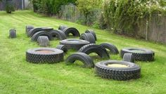 More tire playgrounds. Natural Play Spaces, Outdoor Play Spaces, Tire Playground, Outdoor Nursery, Cool Kids, Kids Fun, Garden Nursery, Play Equipment, Playgrounds
